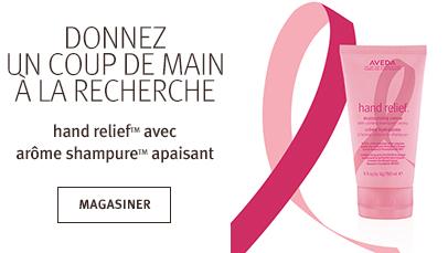 Cliquezsur le bouton Magasiner pour voir les produits hand relief qui aident la recherche sur le cancer du sein